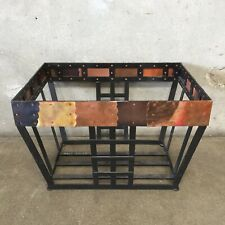 Metal Firewood Basket -  Iron & Copper - Spanish Mission Craftsman Style