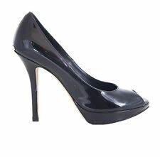 Christian Dior Black Patent Leather Peep Toe Platform Pumps Size 36
