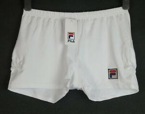 Bnwt Women's Fila Tennis Shorts Stretch Medium UK12 White New Embroidered