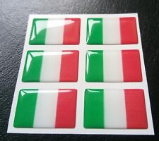 6 X Italy Flag Resin 3D Domed Europe Sticker label 27mm x 16mm waterproof