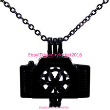 "-H218 18"" Black Necklace Locket Pendant Camera Pearl Bead Stone Cage"