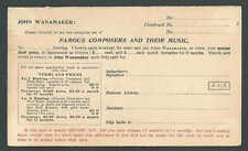 1899 PCJohn Wanamaker NY Famous Dept Store Has A Music Club Offers Book See Info
