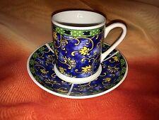 Blue Base Yellow Floral Procelain Espresso Demitasse Cup & Saucer Set