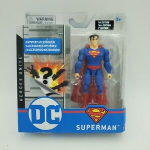 """DC Heroes Unite Spin Master 4"""" 1st Edition Superman 3 Mystery Accessories"""