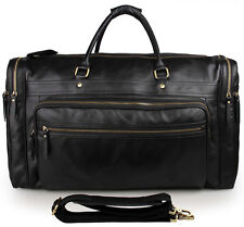 Mens Leather Duffel bags Gym Bags Weekender bags Travel bags-Black