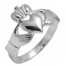 New Mens Solid Silver Celtic Irish Claddagh Ring Size S RRP £49.50