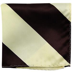 New men's polyester stripes pocket square hankie handkerchief brown beige formal