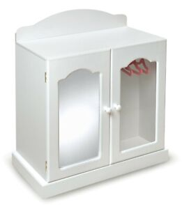 """BADGER 27.5"""" TALL MIRRORED DOLL ARMOIRE WHITE/PINK FOR 18"""" DOLLS NEW IN ORIG BOX"""