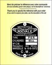 PLAQUES Constructeur Motos ROCVALE - VIN PLATES Motos ROCAVLE