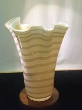 """Vintage Elegant Murano Fazzoletto Vase 12"""" Tall Continuous Ribbon With Accents"""