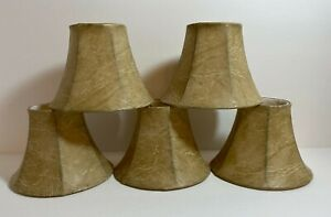 FAUX LEATHER LOOK MINI BEIGE SHADES- CHANDELIER OR SMALL LAMP SET OF 5