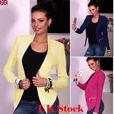 UK Women Ladies Casual Long Sleeve Coat Suit Slim Top Blazer Jacket Outwear Coat