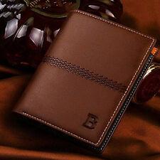 Men Leather light coffee Wallet Pocket ID Card Holder Billfold Slim Clutch Purse