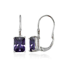 Sterling Silver Cubic Zirconia Amethyst Emerald-Cut Leverback Earrings