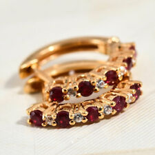 Ruby and Zircon Hoop Earrings in Vermeil Yellow Gold Over Sterling Silver
