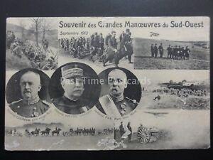 Military SOUVENIR DES GRANDES MANOEUVRES DU SUD-QUEST Sept 1913 Postcard