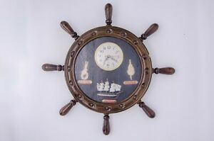 Wooden Nautical Ship Steering Wheel Wall Clock Nautical Décor with ship and rope