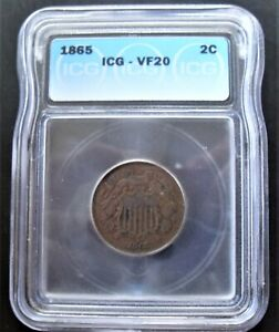 1865 TWO CENT 2c PIECE ICG-VF 20- BROWN IN COLOUR