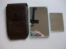 VINTAGE MIRROR IN BROWN LEATHER CASE & SMALL MIRROR **TATTY**