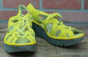 NEW FLY London Leather Lace Up Wedge Sandals - YAPI - Yellow EURO 39 US 8-8.5