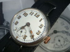 WW1 unsigned Marconi Lever Swiss Silver 1915 Trench watch with full service