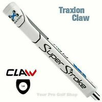 Super Stroke Traxion Claw 1.0 Putter Grip - White/Blue/Grey - 19834 Ships Free