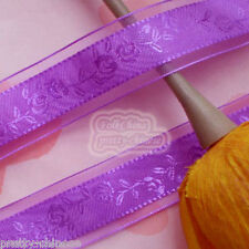 """5 Yards Purple 24mm 1"""" Rose Flower Organza Ribbons Sewing Trimming Craft New"""