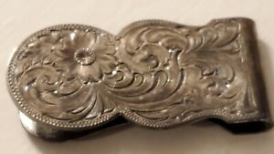 MONTANA SILVERSMITHS MONEY CLIP WESTERN ENGRAVED FLORAL DESIGN SILVER PLATED