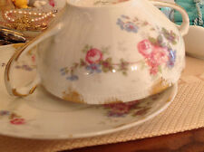 ANTIQUE CH Field Haviland Limoges GDA Tea Soup Bouillon Cup & Saucer Pink Roses