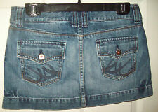 X2 Quality Denim Blue Jean Cotton Mini Skirt Ladies Junior School Size 0  SZ XS