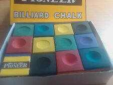 POOL TABLE CUE CHALK 12 RAINBOW BLOCKS OF 6 VARIED COLOR VALUE  SNOOKER TABLES
