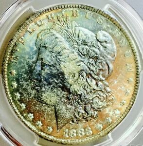 1883 MORGAN DOLLAR PCGS MS63 ! MOST INSANE COLOR COMBO! SO PQ+++!WOW!$$$NR (DR)