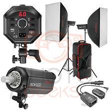 Studio Flash Softbox Lighting Kit  1200w 2 x 600w -Strobe Photography Bowens Fit