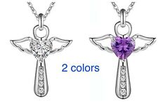 Women's 925 Sterling Silver CZ Cubic Crystal Angel Heart Cross Pendant Necklace