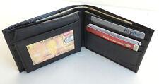 Black Mens Genuine Leather Soft Plain Window ID Bifold Wallet Flap Top FREE SHIP
