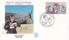 Enveloppe 1er jour FDC n°A18 1973 Paul Codos Aviateur 15F Avion