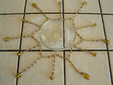 4 GLASS BEADED  RINGS AMBER  FOR HANGING LAMPS BOBECHES