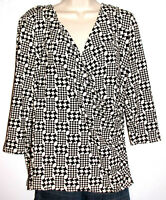 Talbots Women's 3/4 Sleeve Silky Stretch Houndstooth Print Top Plus Size 1X