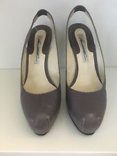 Brian Atwood Womens Leather Platform Slingback Pumps Gray Size 7