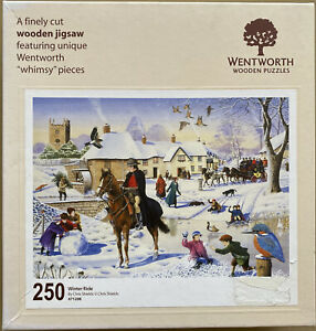 """WENTWORTH """"Winter Ride"""" 250 piece Wooden JIGSAW PUZZLE Whimsy"""