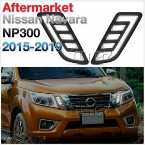 For Nissan Navara NP300 Grill Grille White LED Daytime Running Light DRL COB TU