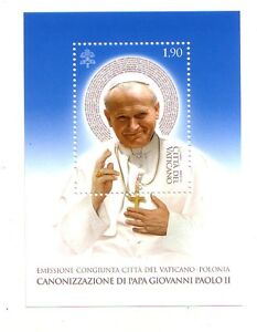 Vaticano congiunta Polonia Canonizzazione  Papa Giovanni Paolo II foglietto blu