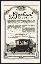1913 Old Vintage Borland Electric Motor Car Automobile Co Art Print Ad