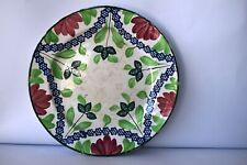 "Antique Spongeware Spatterware Pottery Plate Dish Blue Star Flower Petal Desi""F4"