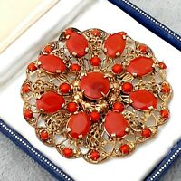Gorgeous Vintage CZECH Art Deco Carnelian Red Filigree Large Round Brooch Pin