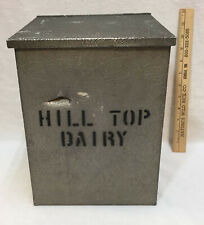Home Milk Box Hill Top Dairy Aluminum & Wood Container for Jugs Cream Vintage