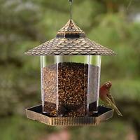 Wild Bird Feeder Hanging for Garden Yard Outside Decoration, Hexagon Shaped