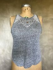 Abercrombie & Fitch Gray SEQUIN BEADED SHEER Mesh Back Tank Top T-shirt Cami XS