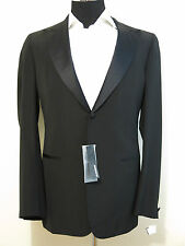 Jil Sander mens Tuxedo Suit NEW WT! 42-43L black TAILOR MADE satin peak lapel