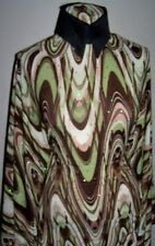 Swirly Brown and Olive Hologram Sequin Dot Lycra Stretch Fabric 1 yard 13 inches